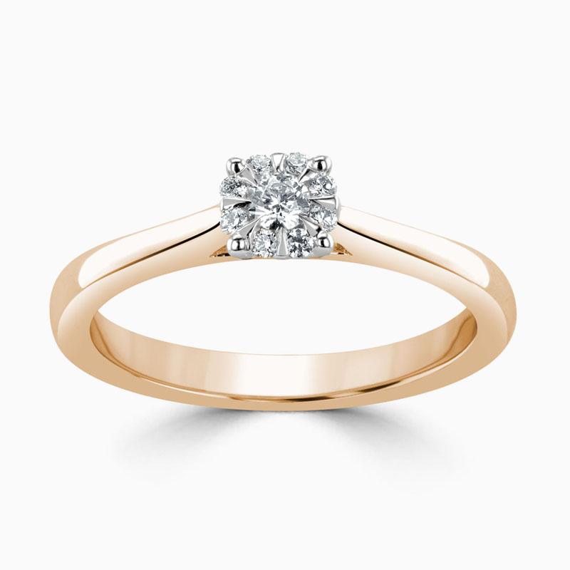 18ct Rose Gold Cluster Diamond Set Engagement Ring