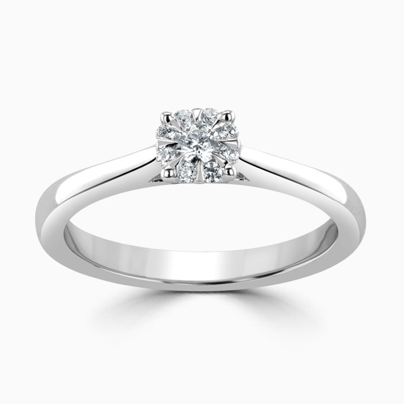 18ct White Gold Cluster Diamond Set Engagement Ring