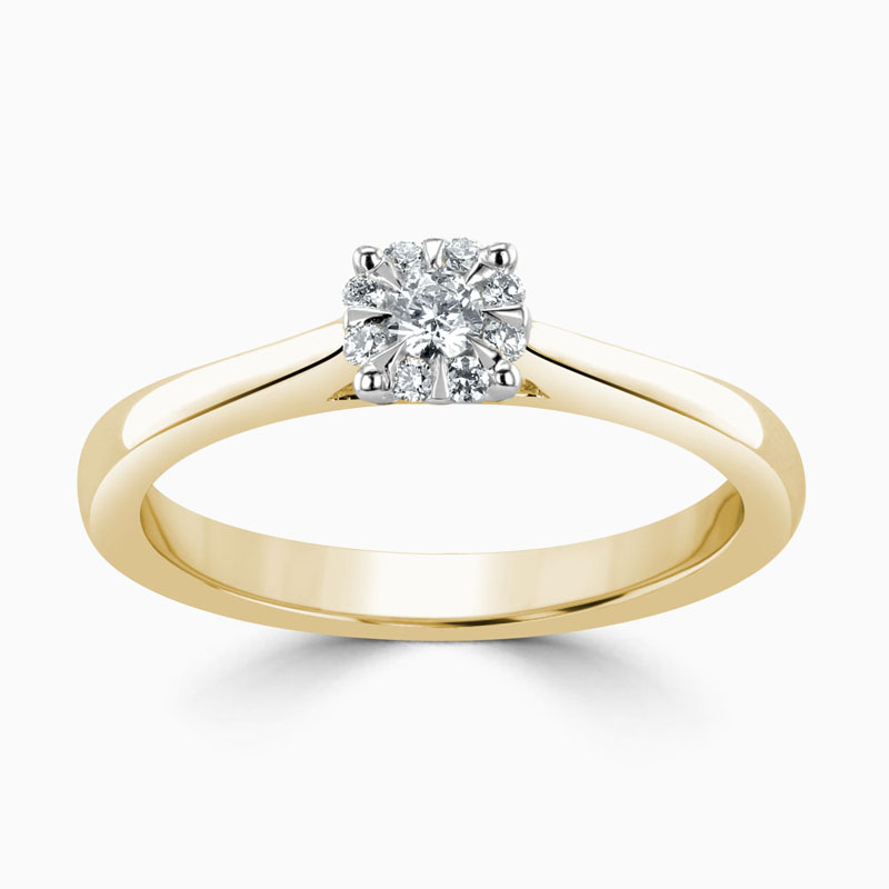 18ct Yellow Gold Cluster Diamond Set Engagement Ring
