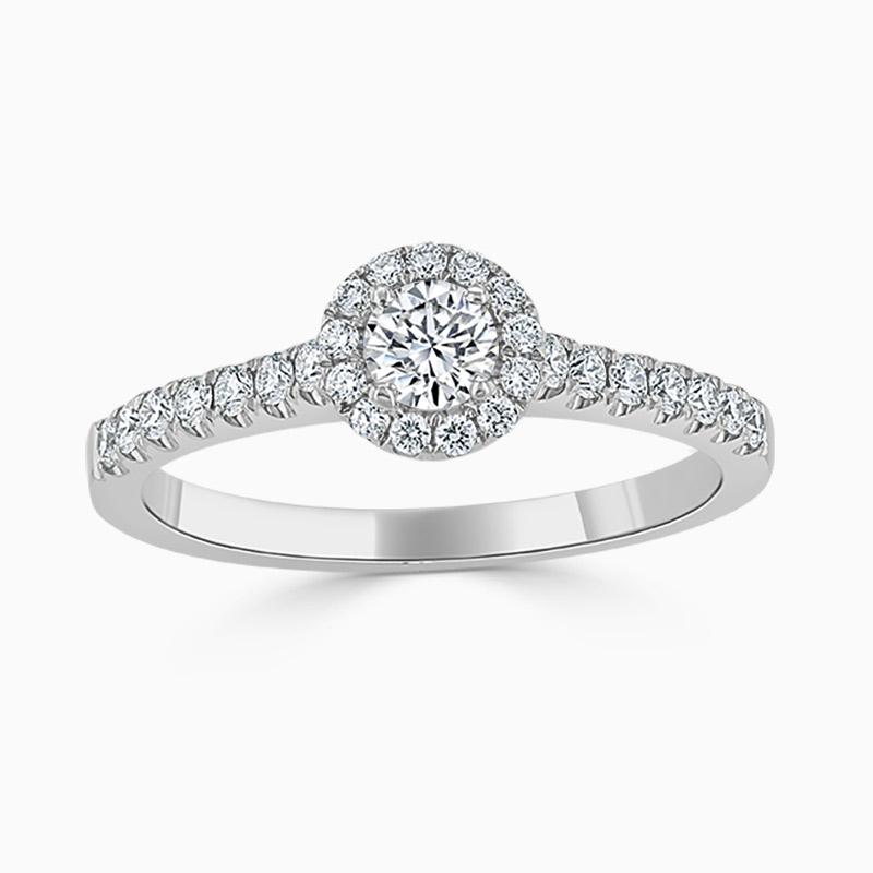 18ct White Gold Round Brilliant Halo Diamond Engagement Ring
