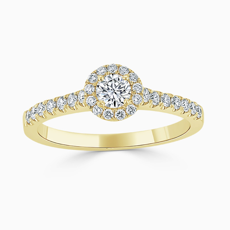 18ct Yellow Gold Round Brilliant Halo Diamond Engagement Ring