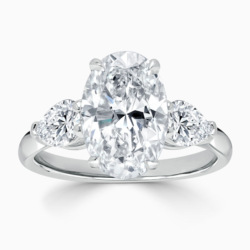 Platinum Oval Shape 3 Stone with Pears Engagement Ring with Oval, 3.01ct, D Colour, IF Clarity - GIA