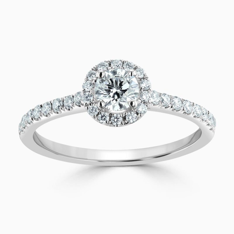 Platinum 950 Round Brilliant Classic Wedfit Halo Engagement Ring with Round, 0.4ct, G Colour, SI1 Clarity - GIA