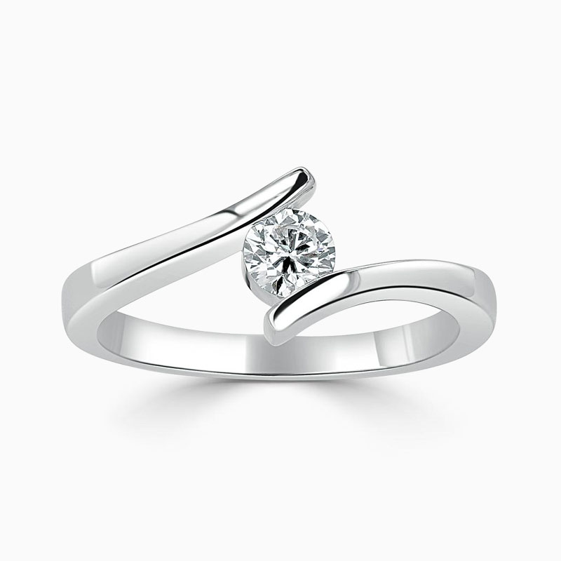 Platinum 950 Round Brilliant Crossover Engagement Ring with Round, 0.3ct, F Colour, VS2 Clarity - GIA
