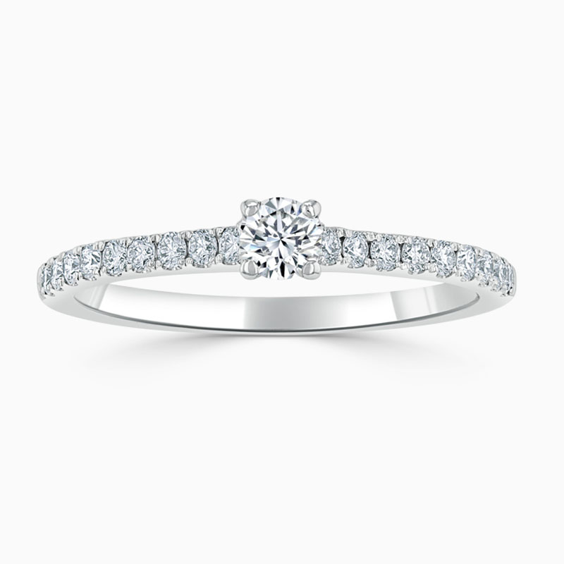 Platinum 950 Round Brilliant Classic Wedfit Cutdown Engagement Ring with Round, 0.18ct, J Colour, VVS1 Clarity - GIA