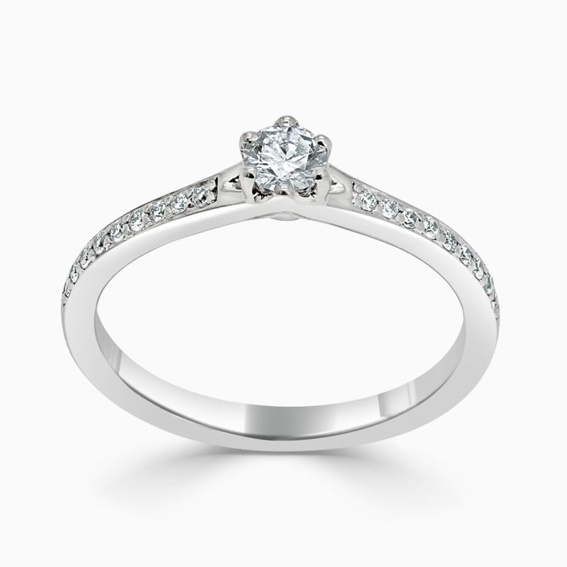 18ct White Gold Round Brilliant 6 Claw Brilliant Pavé Engagement Ring with Round, 0.18ct, E Colour, IF Clarity - GIA