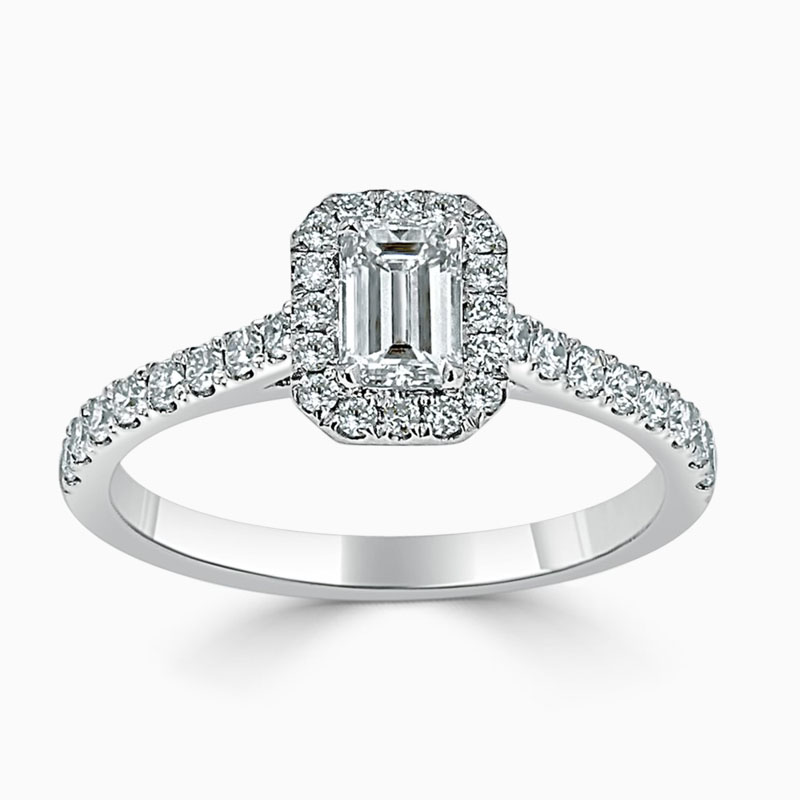 Platinum 950 Emerald Cut Classic Wedfit Halo Engagement Ring with Emerald, 0.48ct, E Colour, VVS2 Clarity - GIA