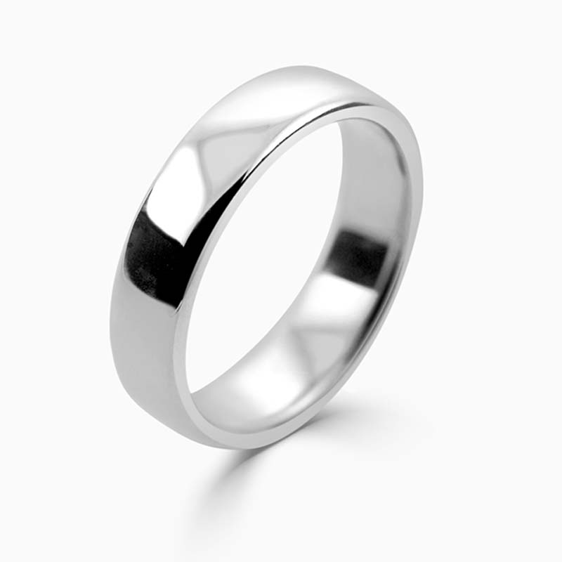 Platinum 5mm Slight Court Medium Weight Wedding Ring