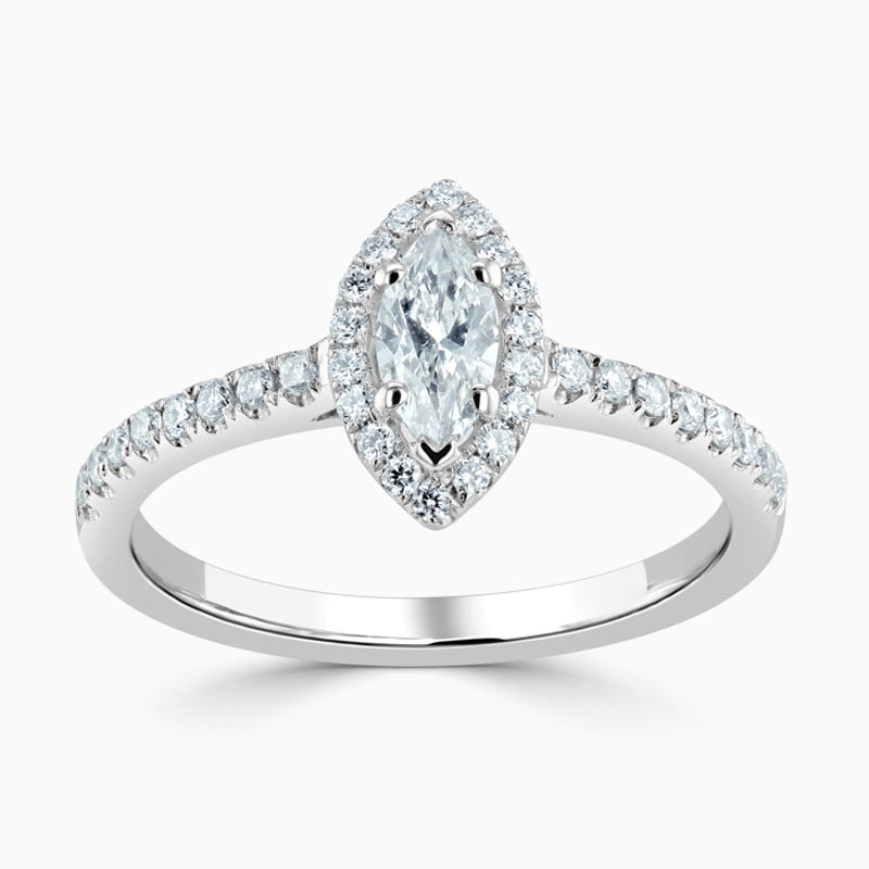 Platinum 950 Marquise Cut Classic Wedfit Halo Engagement Ring with Marquise, 0.31ct, F Colour, SI1 Clarity - GIA