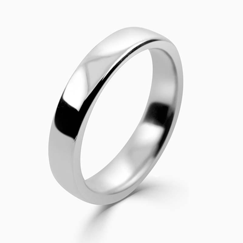 Platinum 4mm Slight Court Medium Weight Wedding Ring