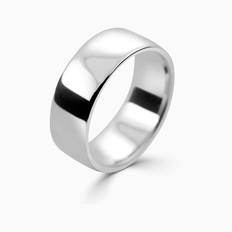 Platinum 8mm Slight Court Medium Weight Wedding Ring