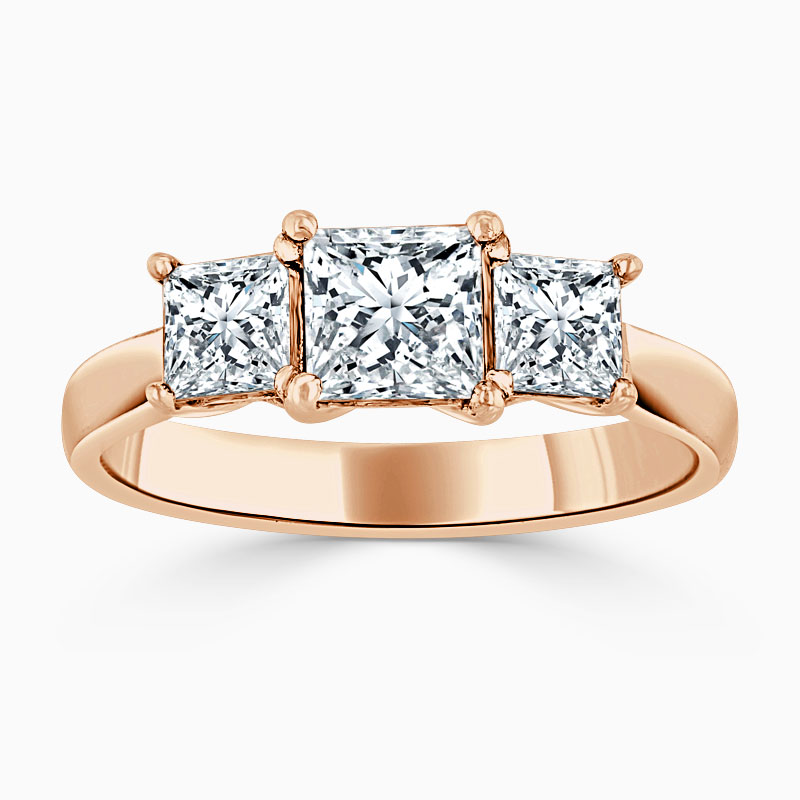 18ct Rose Gold Princess Cut Openset 3 Stone Engagement Ring