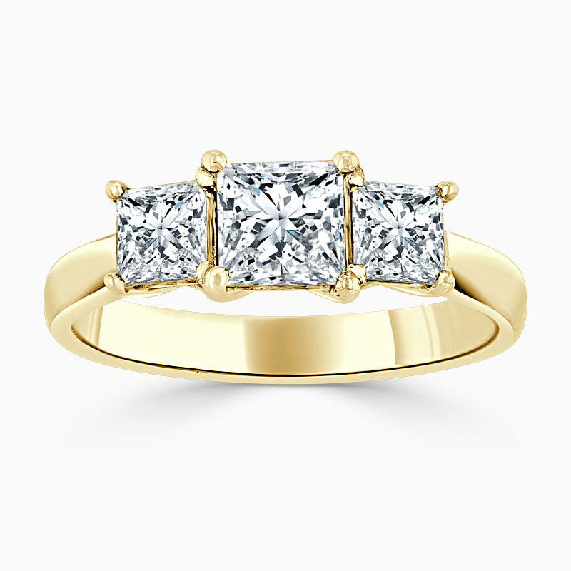 18ct Yellow Gold Princess Cut Openset 3 Stone Engagement Ring