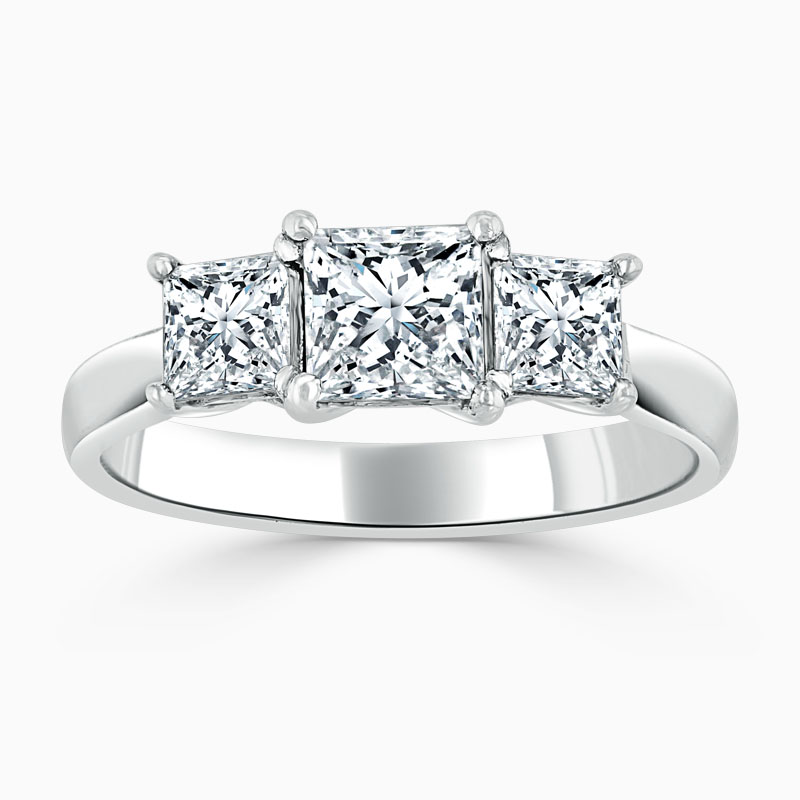 Platinum Princess Cut Openset 3 Stone Engagement Ring