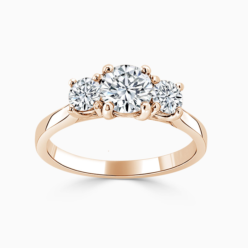 18ct Rose Gold Round Brilliant Openset 3 Stone Engagement Ring