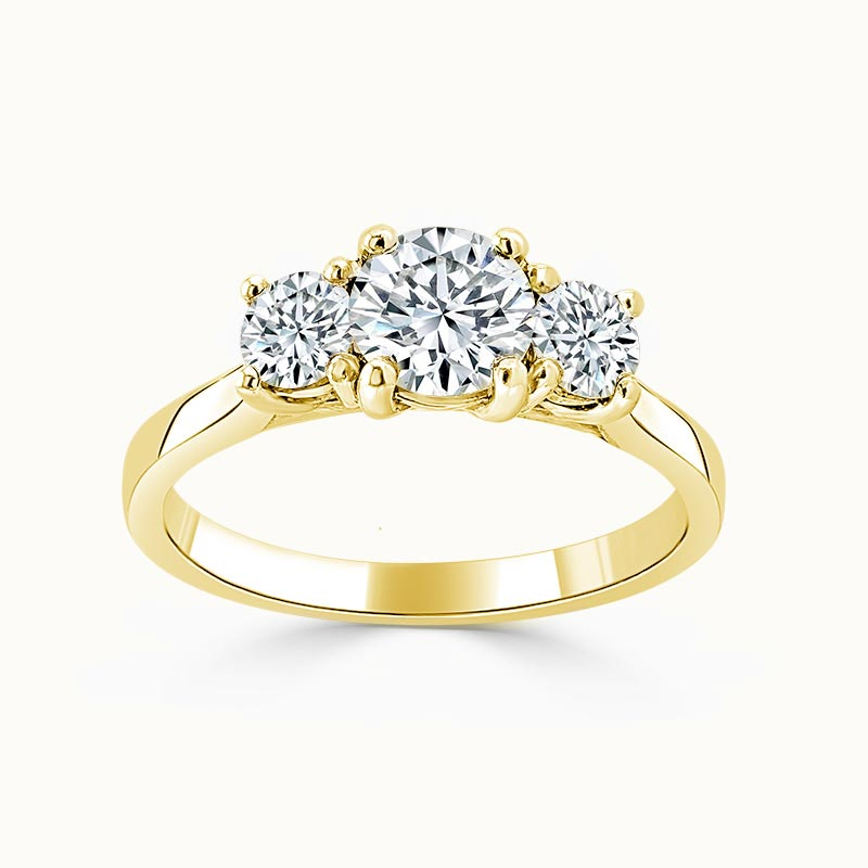 18ct Yellow Gold Round Brilliant Openset 3 Stone Engagement Ring