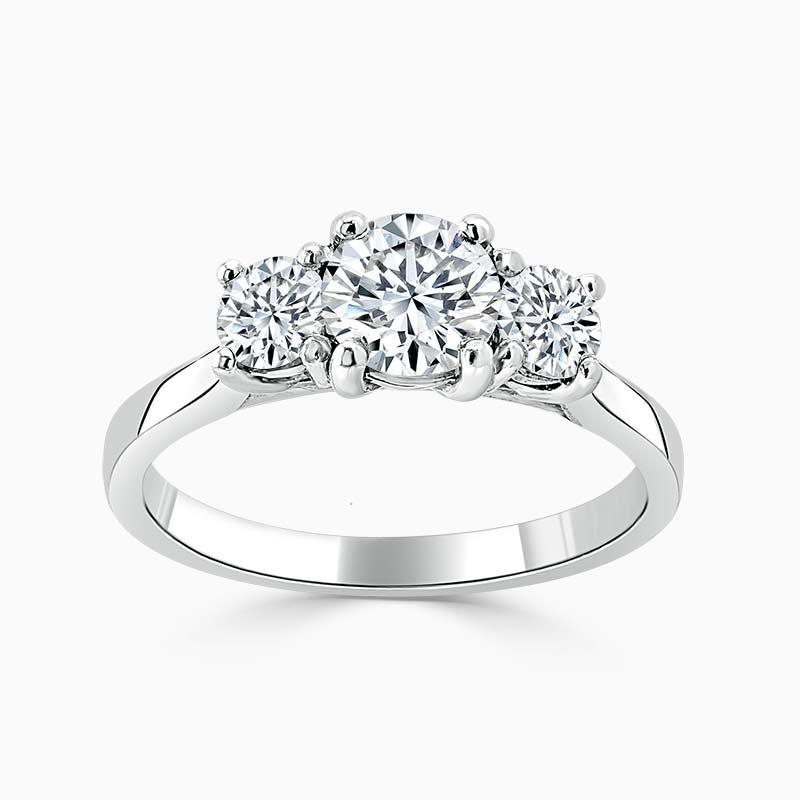 Platinum Round Brilliant Openset 3 Stone Engagement Ring