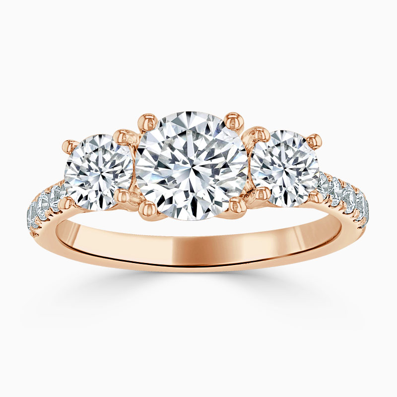 18ct Rose Gold Round Brilliant Openset 3 Stone with Cutdown Engagement Ring