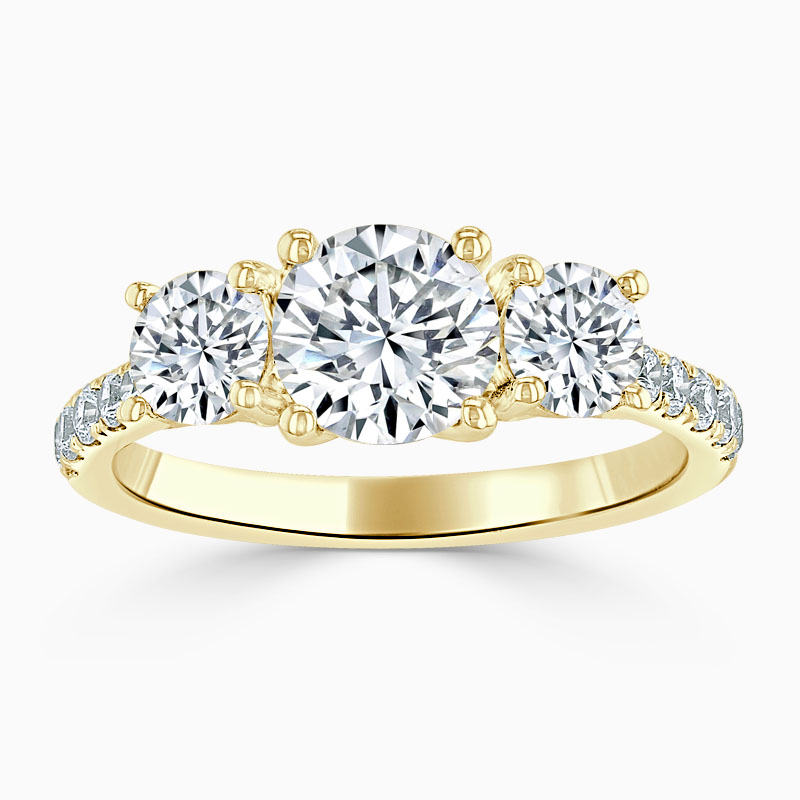 18ct Yellow Gold Round Brilliant Openset 3 Stone with Cutdown Engagement Ring