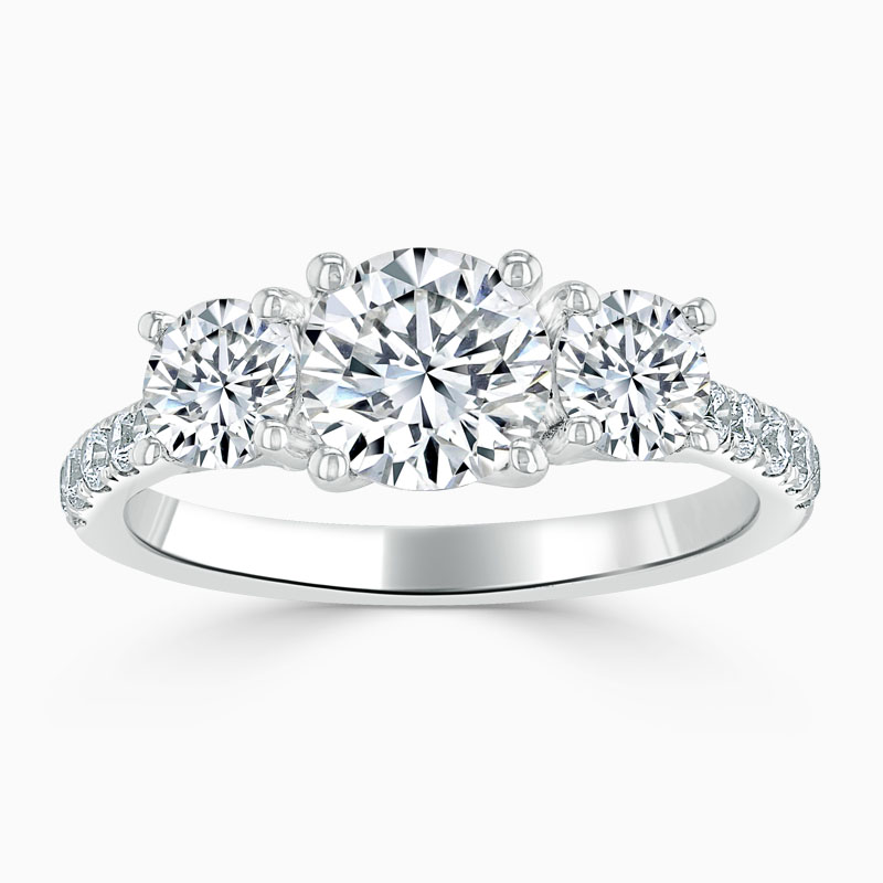 Platinum Round Brilliant Openset 3 Stone with Cutdown Engagement Ring