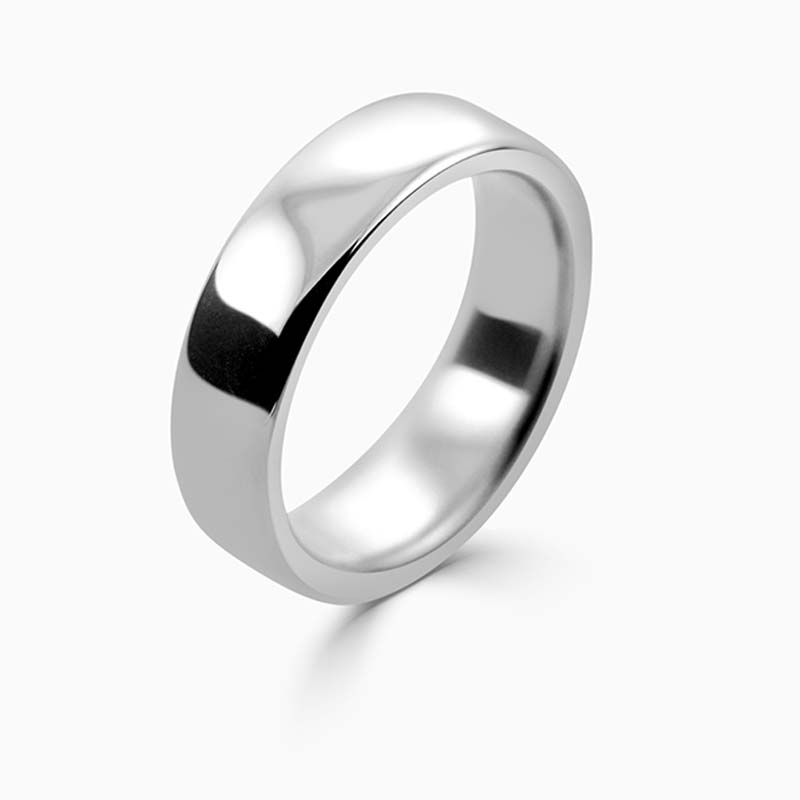 Platinum 6mm Slight Court Heavy Weight Wedding Ring