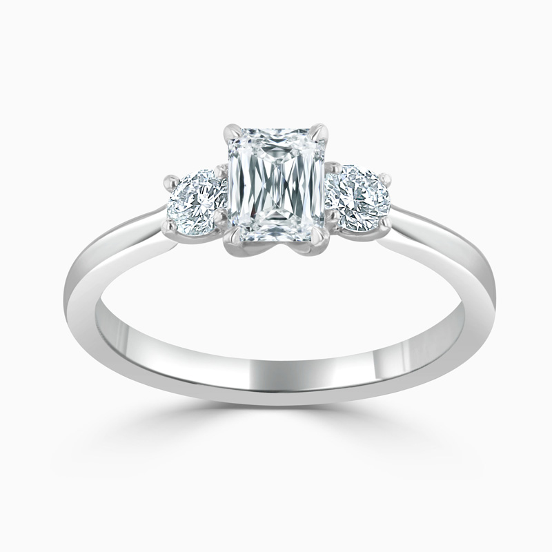 Platinum Crisscut 3 Stone With Rounds Engagement Ring with Crisscut, 0.57ct, G Colour, VS1 Clarity - GIA