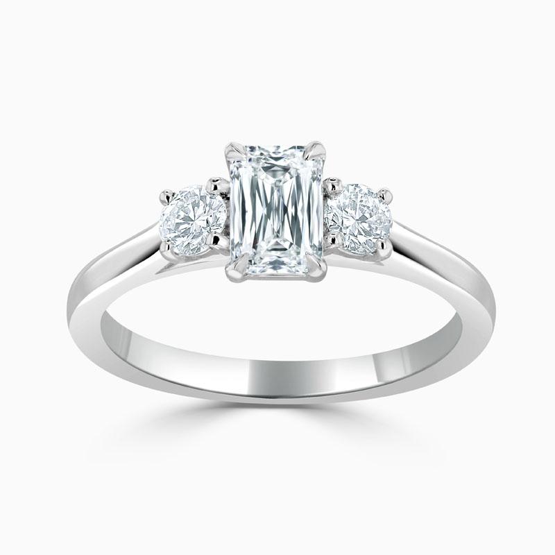 Platinum Crisscut Crisscut 3 Stone With Rounds Engagement Ring with Crisscut, 0.69ct, G Colour, VVS2 Clarity - GIA