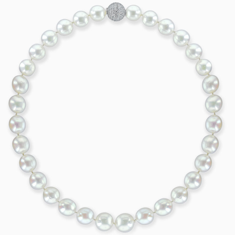 12mm South Sea Pearl Necklace with Diamond Ball Clasp set in 18ct White Gold