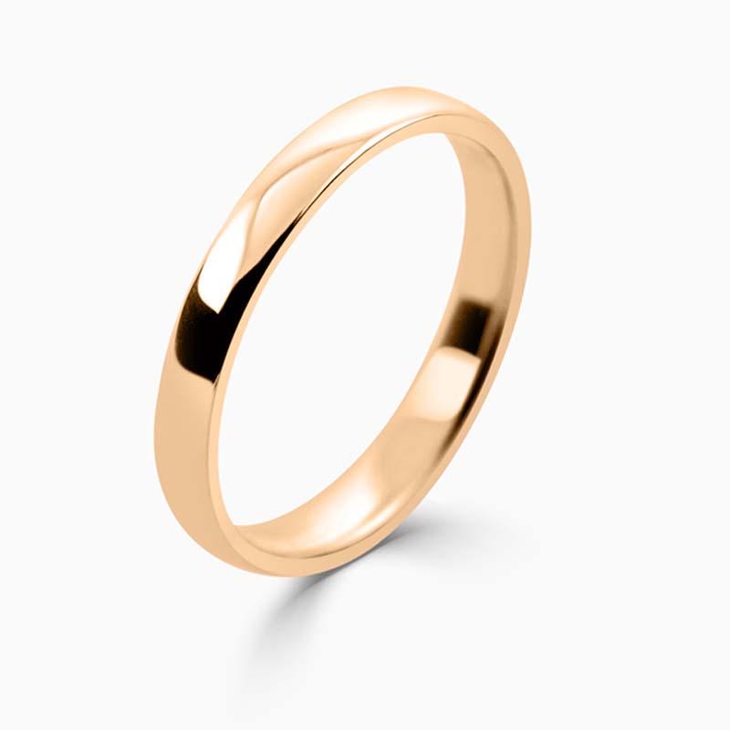 18ct Rose Gold 2.5mm Slight Court Light Weight Wedding Ring