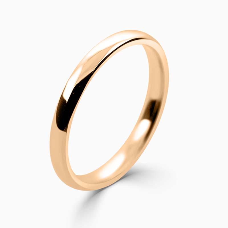 18ct Rose Gold 2mm Slight Court Light Weight Wedding Ring