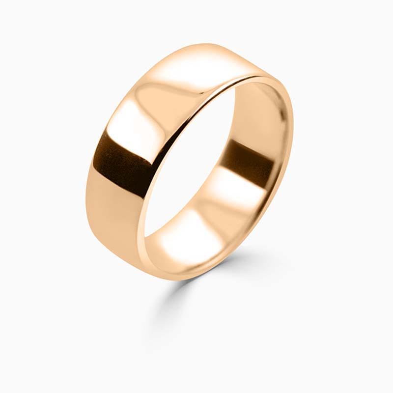 18ct Rose Gold 7mm Slight Court Light Weight Wedding Ring