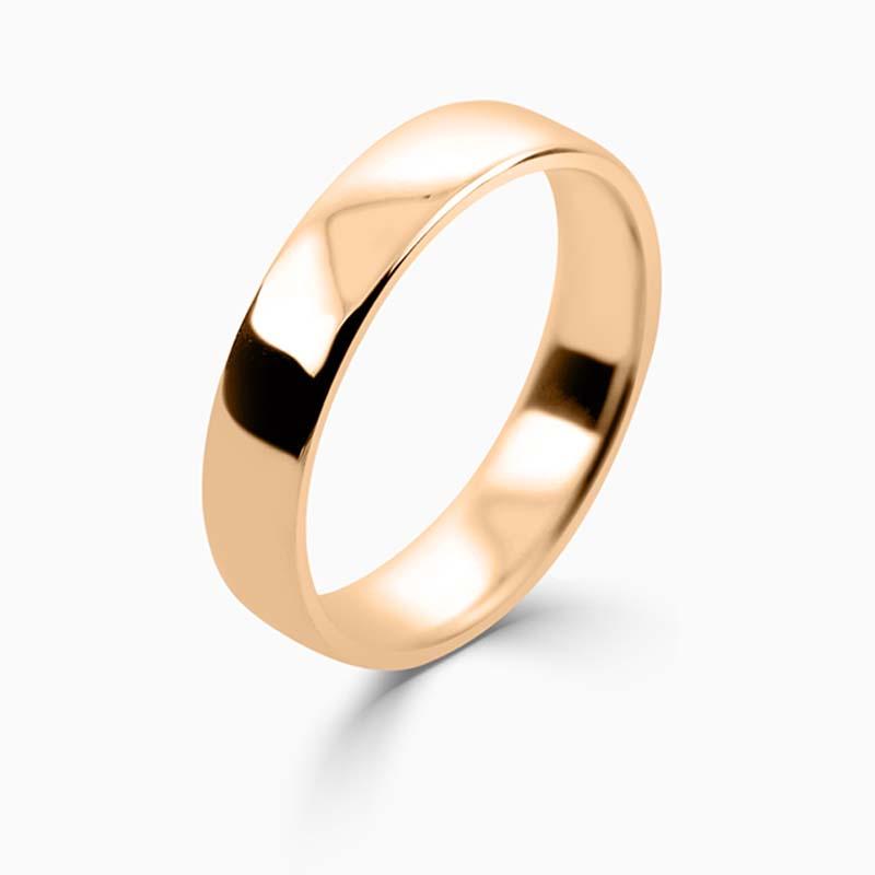 18ct Rose Gold 4mm Slight Court Light Weight Wedding Ring