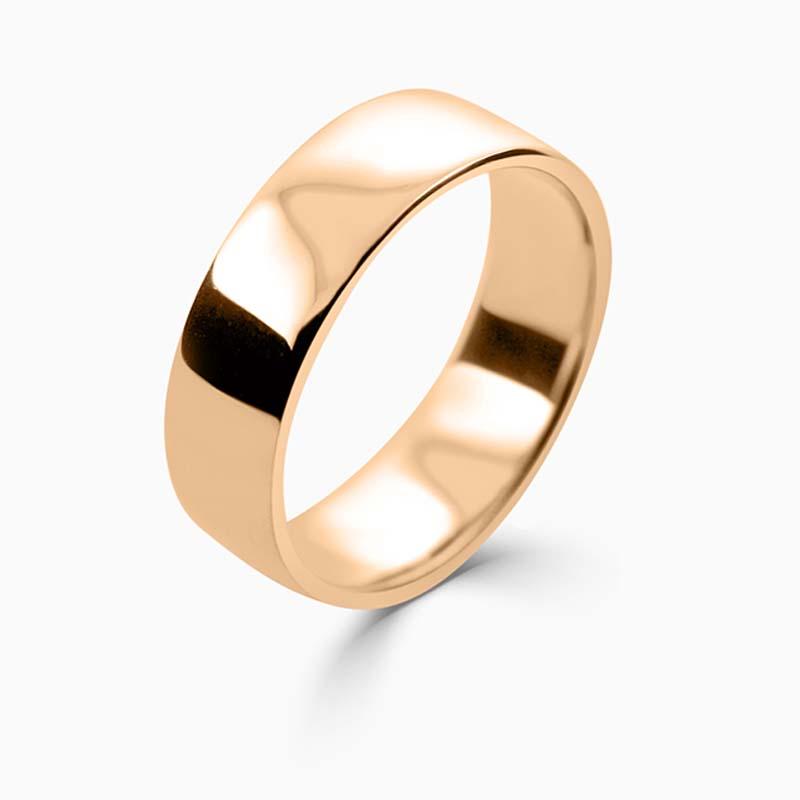 18ct Rose Gold 6mm Slight Court Light Weight Wedding Ring