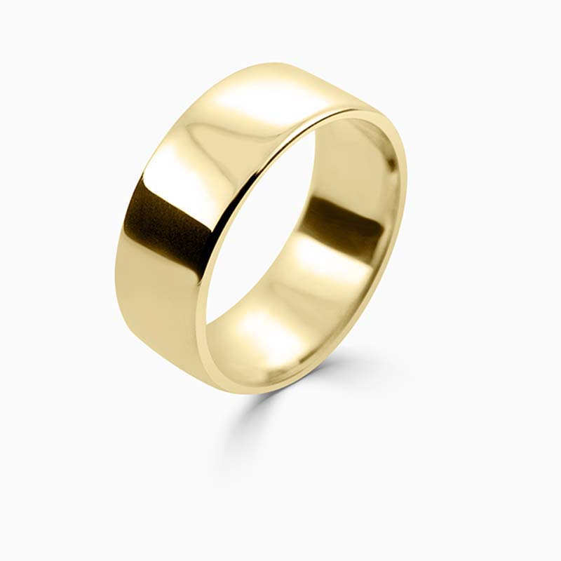 18ct Yellow Gold 8mm Slight Court Light Weight Wedding Ring