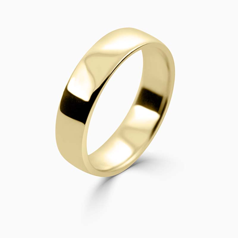 18ct Yellow Gold 5mm Slight Court Light Weight Wedding Ring