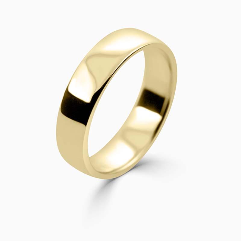 18ct Yellow Gold 5mm Slight Court Light Weight Wedding Ring