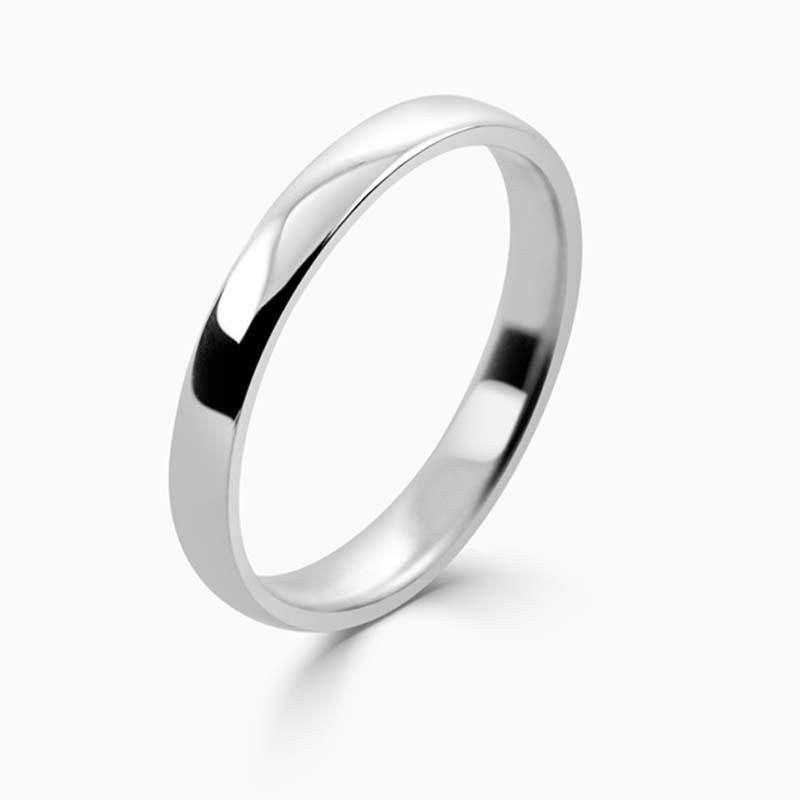 Palladium 2.5mm Slight Court Light Weight Wedding Ring