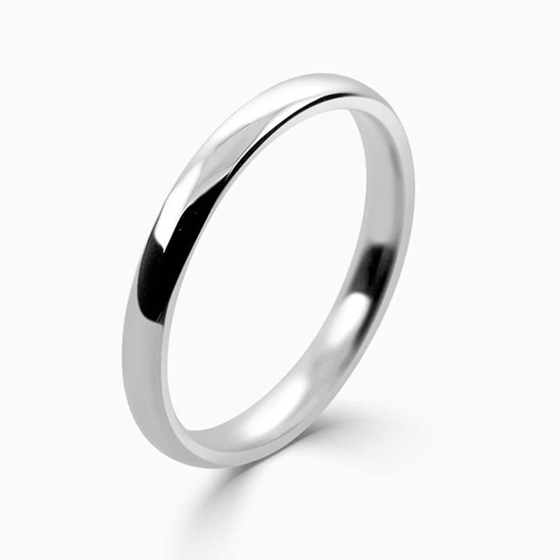 Platinum 2mm Slight Court Light Weight Wedding Ring