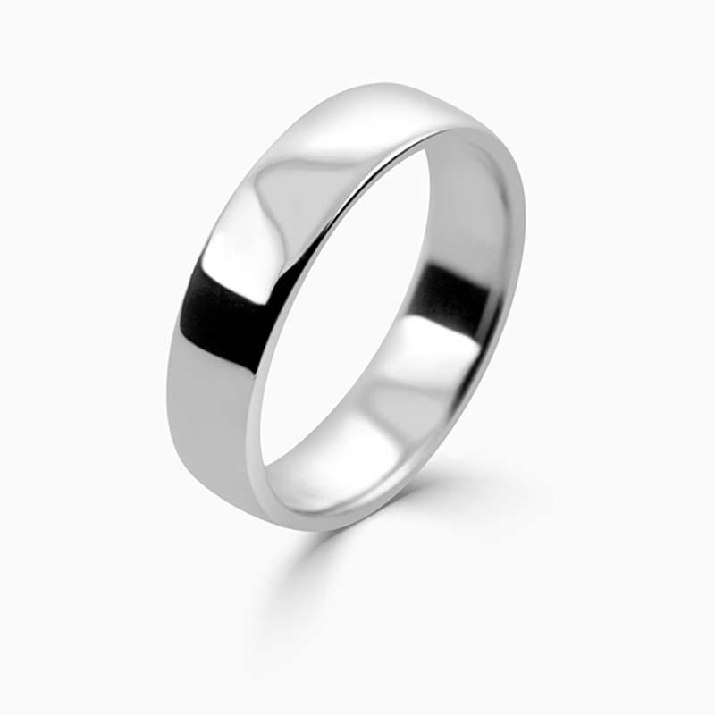 Platinum 5mm Slight Court Light Weight Wedding Ring
