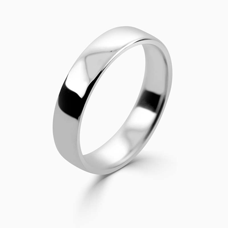 Platinum 4mm Slight Court Light Weight Wedding Ring