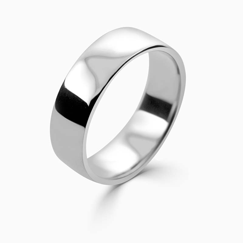 Platinum 6mm Slight Court Light Weight Wedding Ring