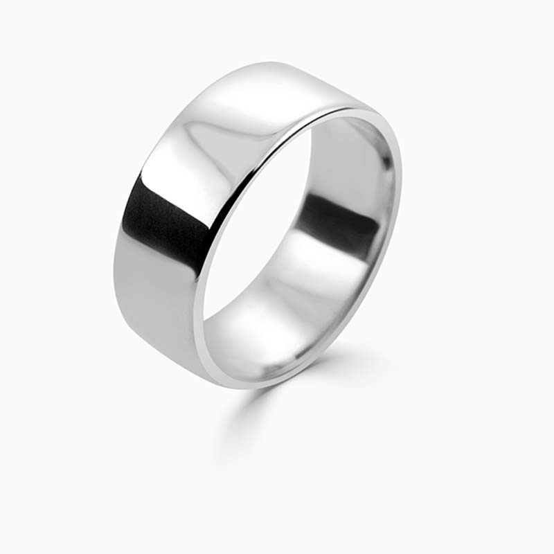 Platinum 8mm Slight Court Light Weight Wedding Ring