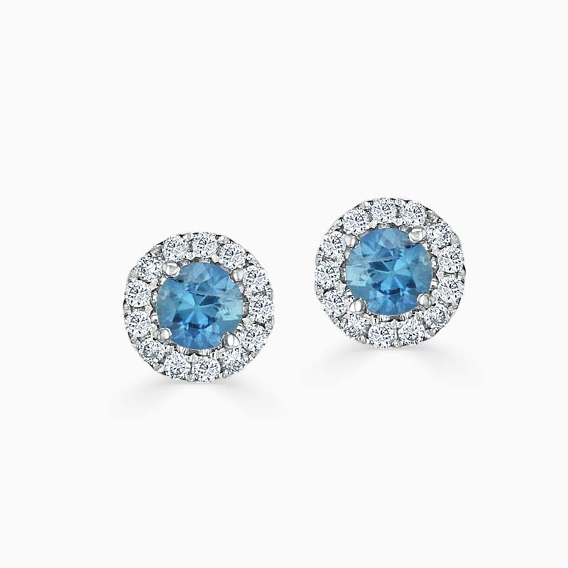 18ct White Gold Aquamarine & Diamond Cutdown Halo Studs