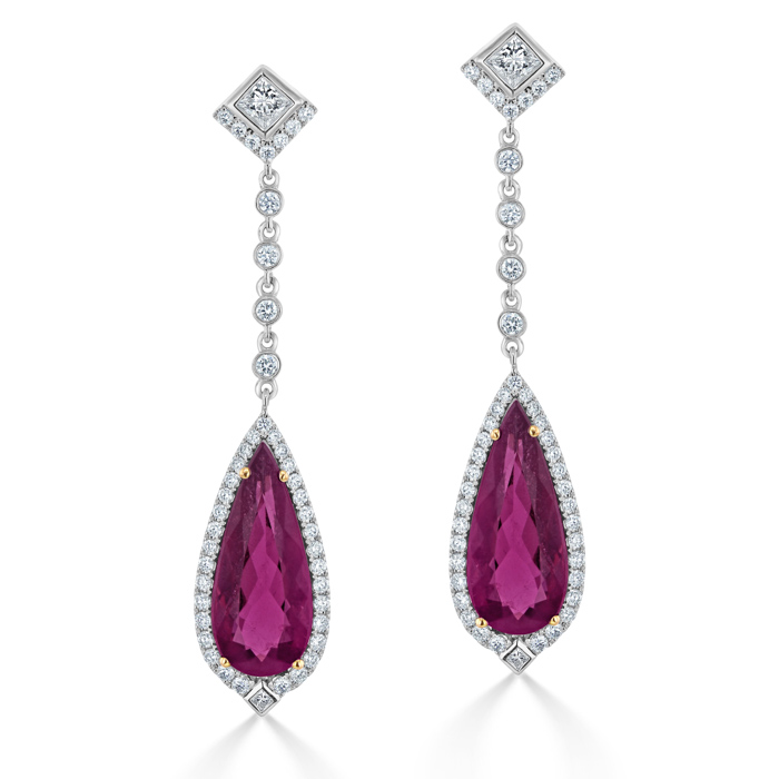 18ct White Gold Pear Shaped Rubellite & Diamond Drops