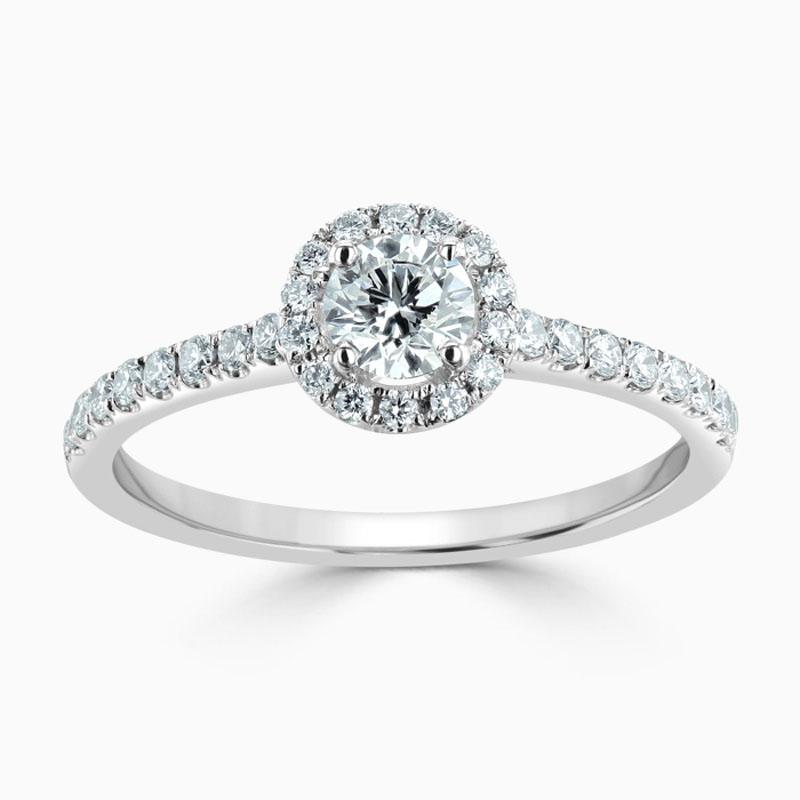 Platinum 950 Round Brilliant Classic Wedfit Halo Engagement Ring with Round, 4.50mm Moissanite