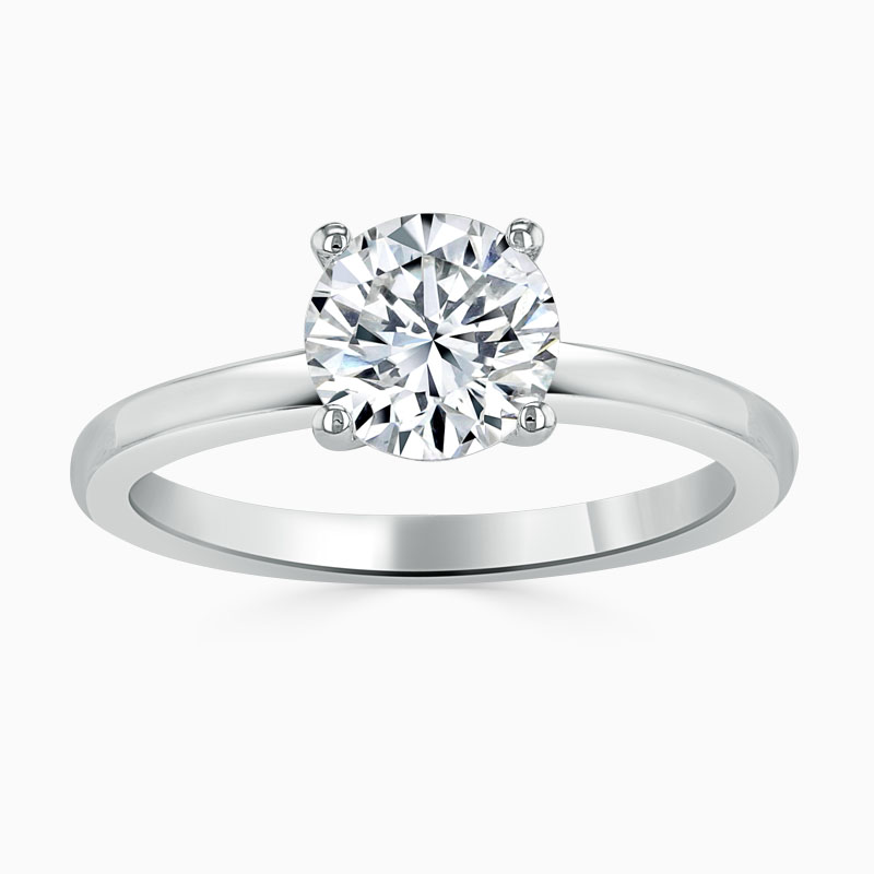 Platinum 950 Round Brilliant Simplicity Engagement Ring with Round 5.00mm Moissanite
