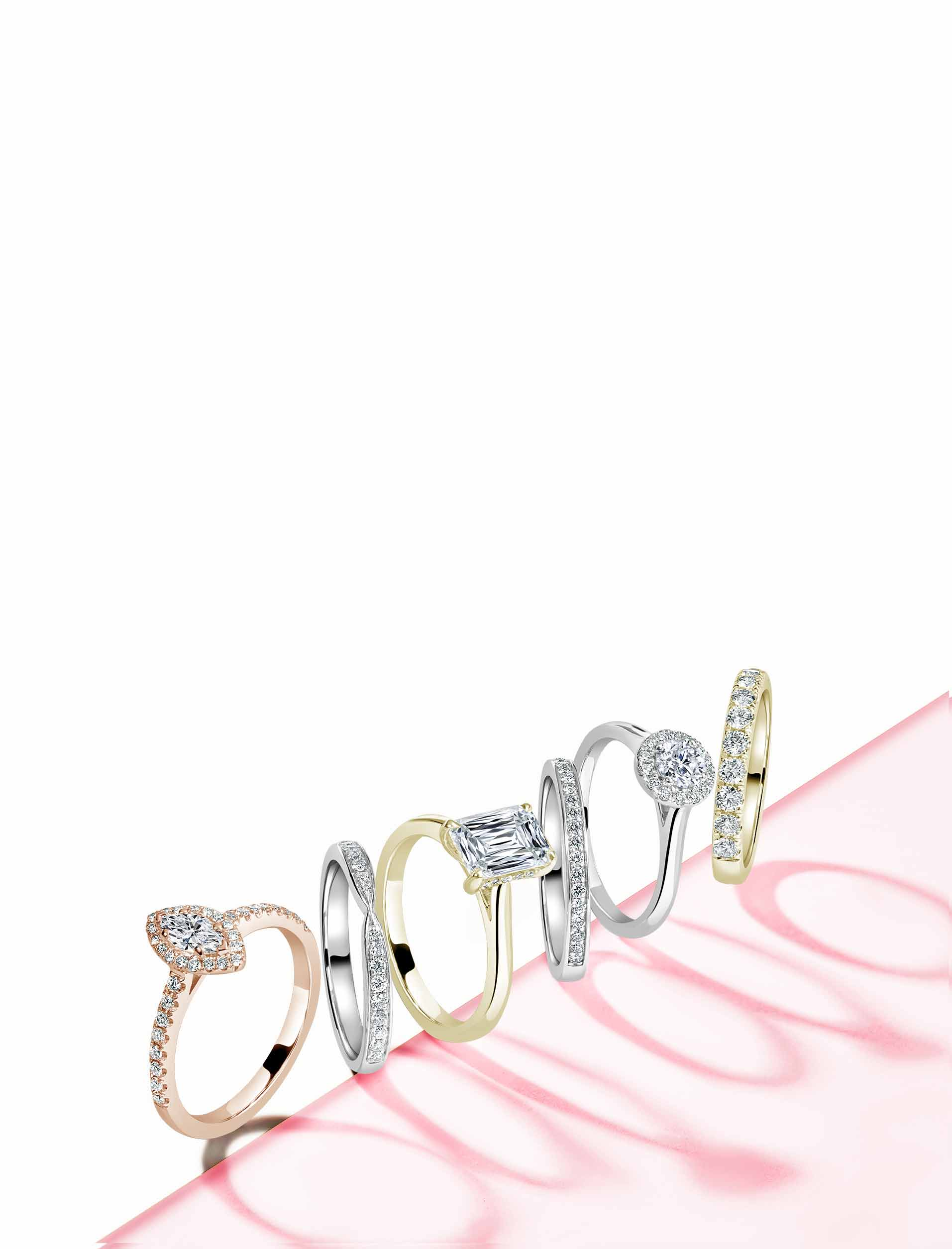 White Gold Emerald Cut Engagement Rings - Steven Stone