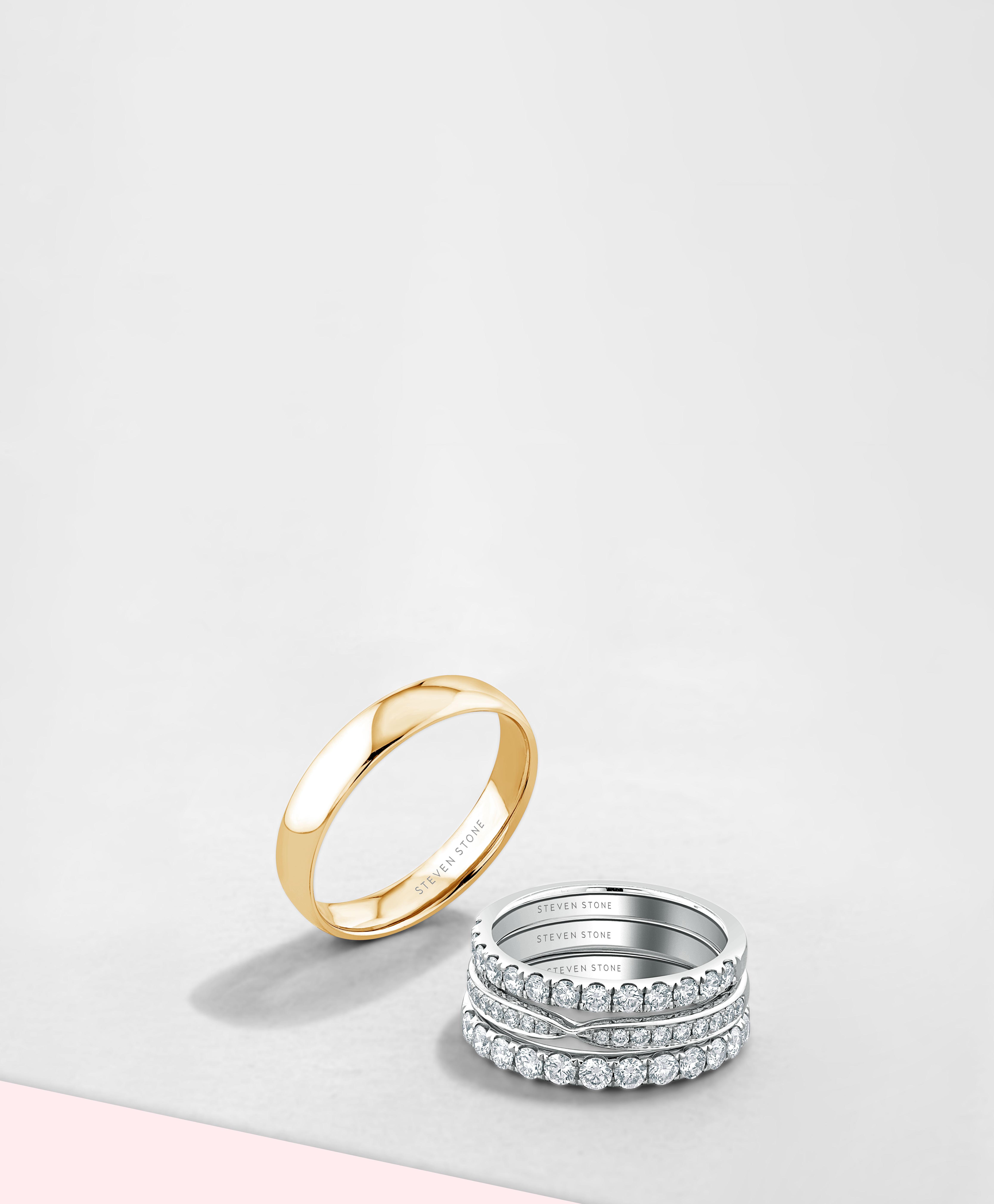 Rose Gold Plain Wedding Rings - Steven Stone