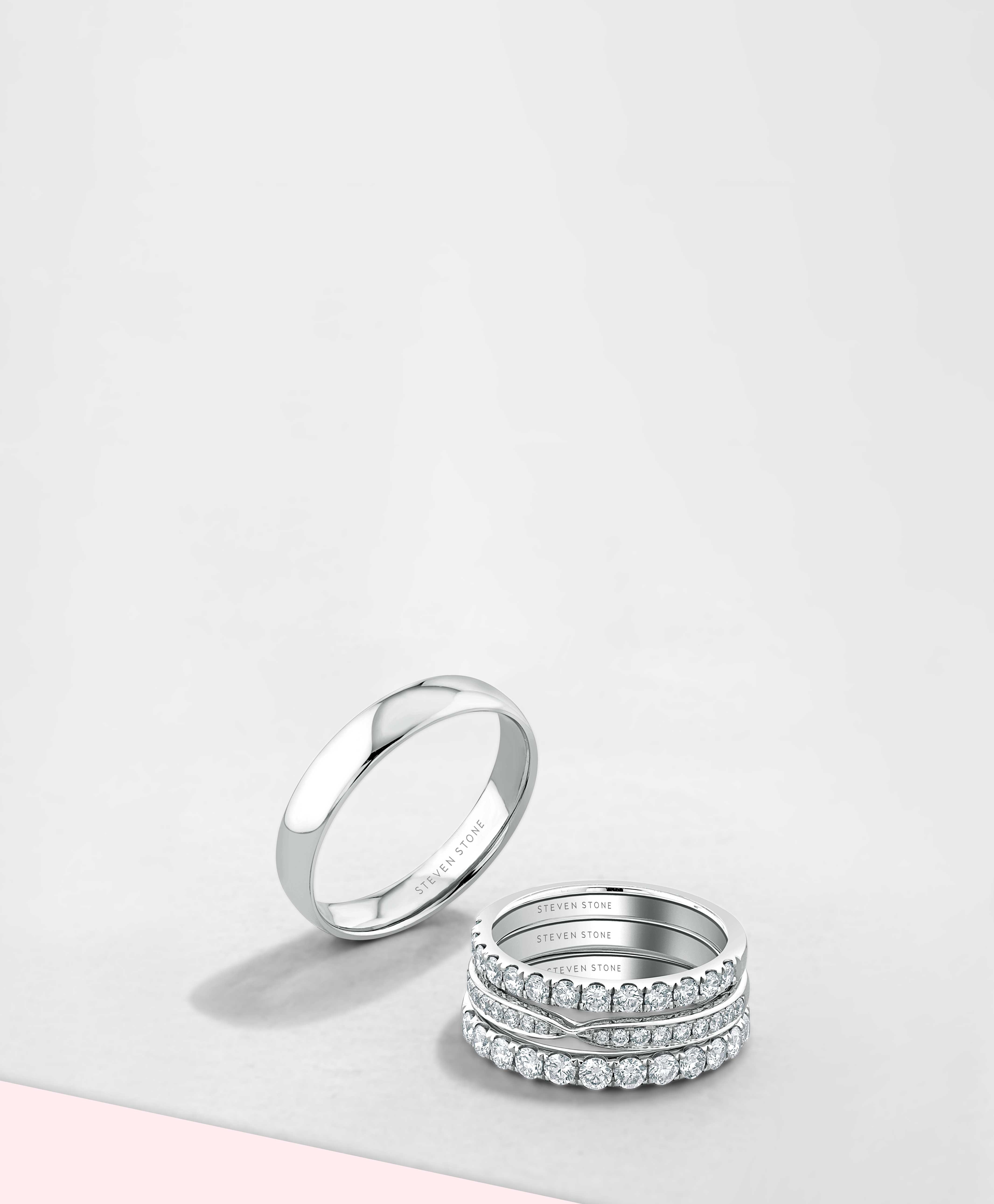 Palladium Diamond Wedding Rings - Steven Stone