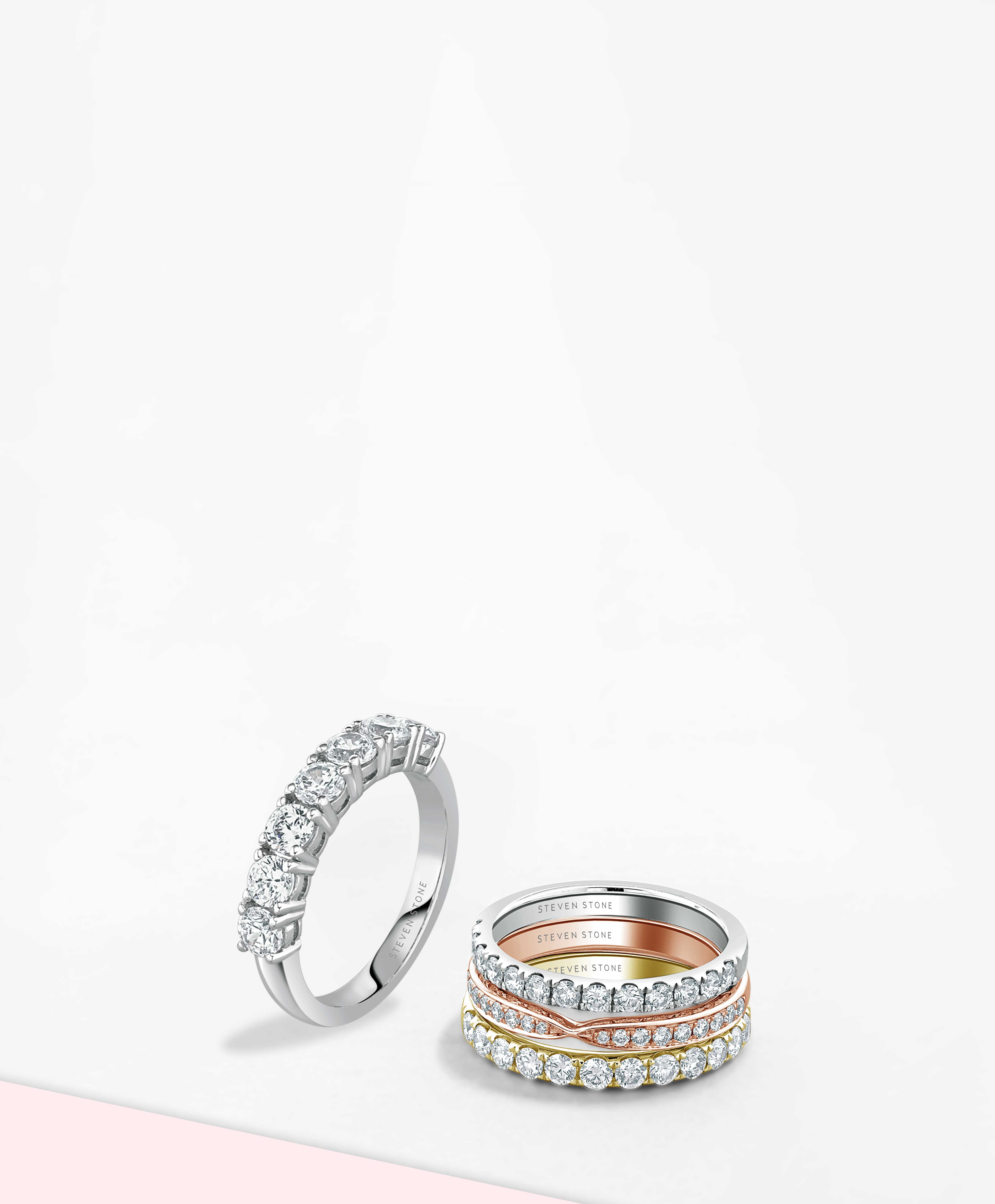 White Gold Half Set Eternity Rings - Steven Stone